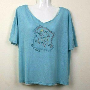 We The Free People Womens Blouse Bora Bora Map EUC
